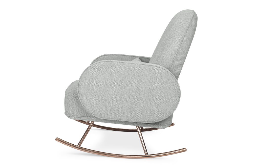 NW17087FWLG,Compass Rocker in Light Grey Weave with Rose Gold Legs