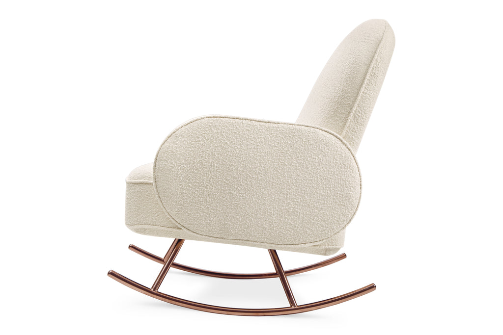 NW17087WB,Compass Rocker in Ivory Boucle with Rose Gold Legs