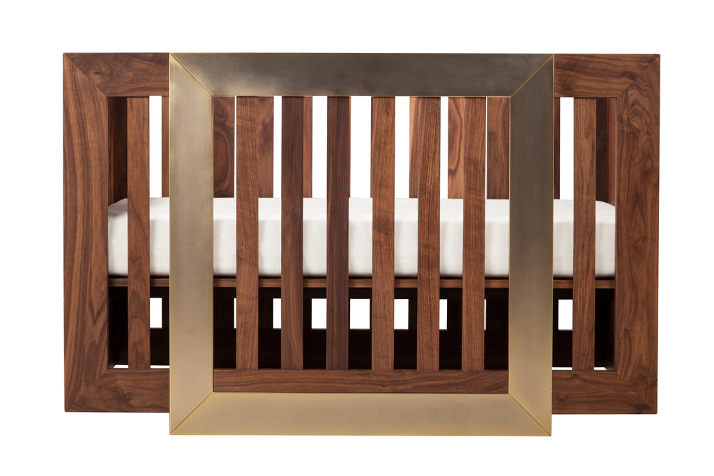 NW12001WGD,Lydian Crib in Walnut Finish With 24k Gold