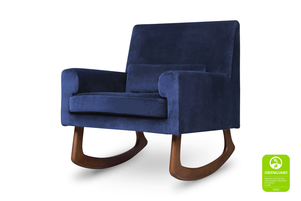 1085BLV,Sleepytime Rocker in Navy Velvet with Walnut Legs