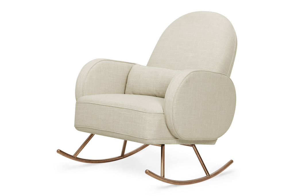 NW17087OM,Compass Rocker in Oatmeal Linen with Rose Gold Legs