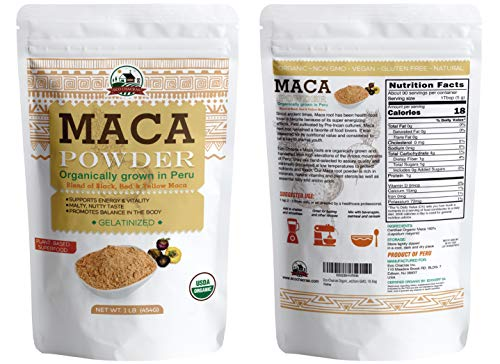 Maca Powder from Peru ! Boosts Immune System ! USDA Certified Organic - Rich in Antioxidants, Helps Energy Boost, Libido, Stamina, Endurance and Mood (1 LB) GILATINIZED-Wholesale