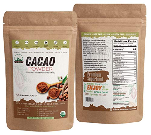 Eco Chacras ! Organic Cacao Powder from PERU - 100% Pure,Criollo Variety, USDA Certified | Sugar Free | All Natural | Low Carb - Keto Friendly | Superfood from Amazon forest of Peru - 7.05oz (200g)Wholesale