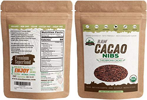 Eco Chacras Raw Cacao Nibs ! USDA Certified Organic ! 100% Natural & Pure ! Made from Peruvian Criollo variety Cacao Beans, Keto-Friendly, Gluten-Free, Sugar-Free, -8.8 oz (250g) Wholesale