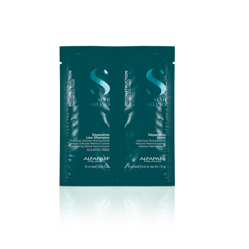 Semi Di Lino Reconstruction Reperative Shampoo and Mask Sachet 10ml (Pack of 20 / 10 Each)