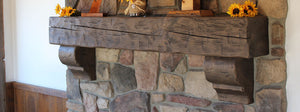 Amish hand hewn and reclaimed barn wood fireplace mantel corbels