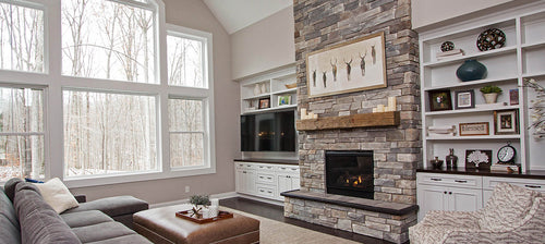 Modern farmhouse fireplace mantel