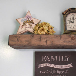 Hand hewn thick timber wood floating wall shelf