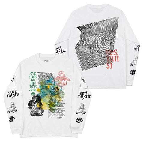 OPTIMYSTIC COLLAGE WHITE LONGSLEEVE TEE
