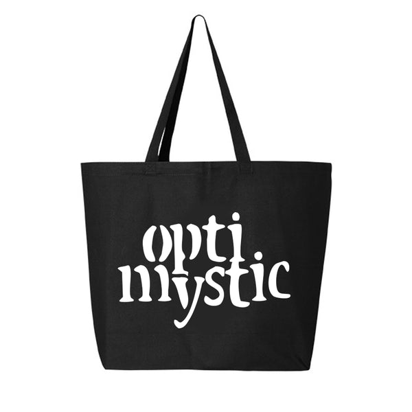 OPTIMYSTIC JUMBO CANVAS TOTE - BLACK WITH WHITE