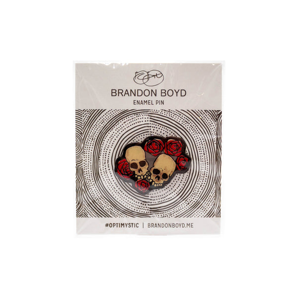 SKULL ROSE ENAMEL PIN