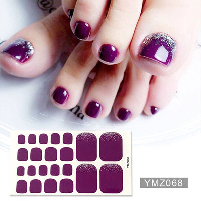 Lamemoria NEW Toenail Stickers Adhesive Nail Polish Wraps for Toes Shinny Solid Silver Stickers Toenail Strips Manicure for Girl