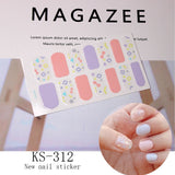14tips/sheet Fashion Color Nail Sticker French Full nail Wraps Nail Polish Sticker Lattice Elements Art Predesigned Drop Ship