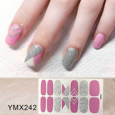 Lamemoria 14 Tips/Sheet  Nail Polish Strips DIY Waterproof Nail Wraps Cute Cartoon Pattern Nail Stickers Nail Patch for Women