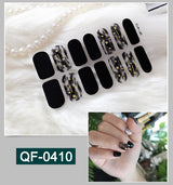 New French Nail Wraps 14 Tips Nail Art Stickers Stripes Designs Waterproof Nail Polish Full Cover Manicure Patch Makeup Tools