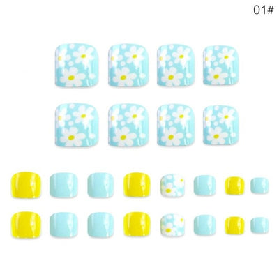 24pcs/pack Full Cover Quick Building Press On Heart Shaped Blue Flower Pattern French Short Toenails Patch Coffin Fake Nails