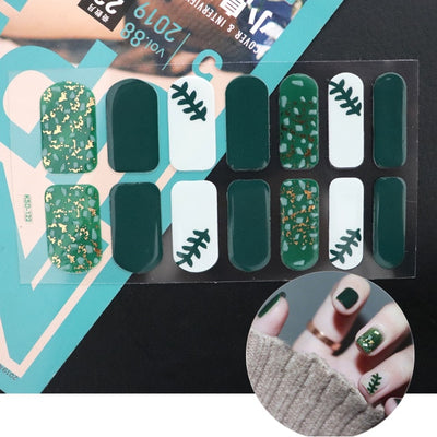 14tips/sheet Nail Stickers Set Full Cover Gel Nail Strip Flower Christmas Holographic with Diamond Effect Nail Wraps Decoration
