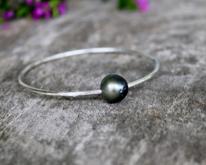 Sterling Silver Tahitian Pearl Bangle