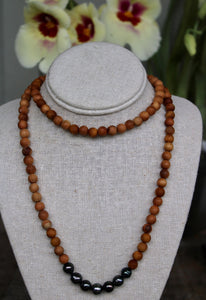 Tahitian Pearl and Sandalwood Necklace