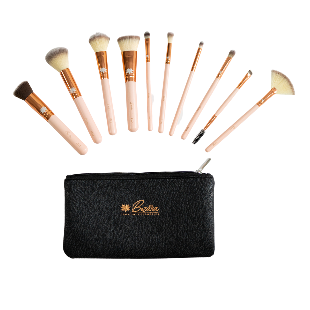 10 PIECE MAKEUP BRUSH SET ROSE GOLD