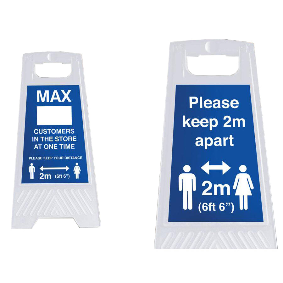 Social Distancing A-Frame Floor Signs