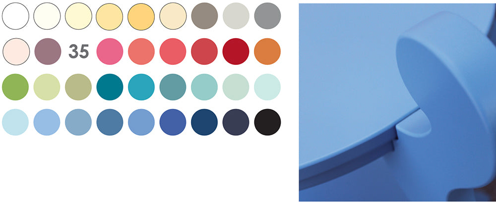 Graphic of 35 color swatch dots and detail of fiddlehead table in blue