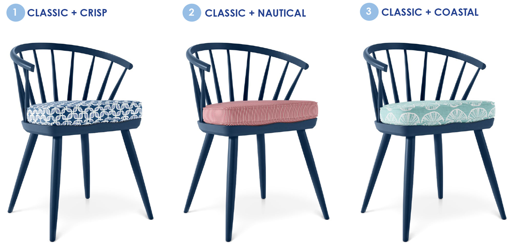 Three wood chairs painted blue with seat cushions in blue leaf print, red texture and blue-green coastal print