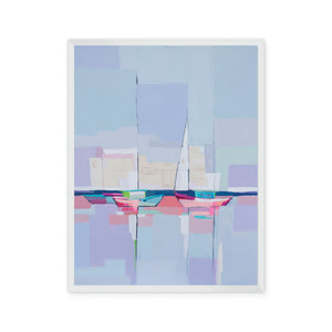 Abstract painting with colorful sailboats and blue sky reflected in the water
