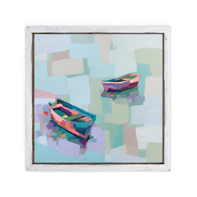 Abstract painting of 2 colorful row boats with reflections in the water
