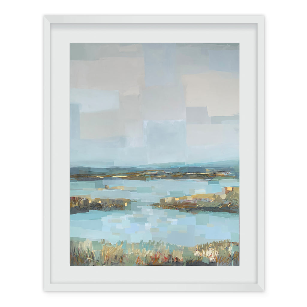 Abstract coastal painting of sea grass and wetlands with blue water and sky
