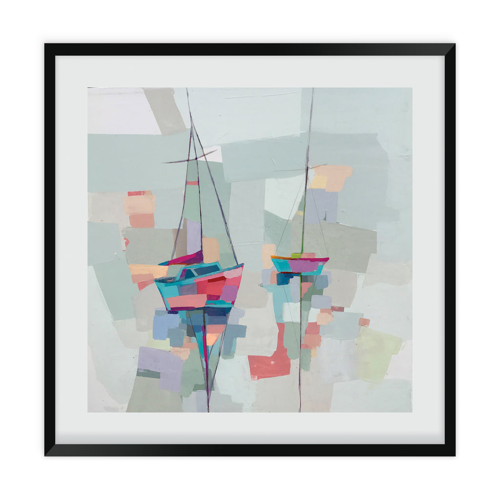 Abstract painting of two sailboats with tall masts reflected in the colorful water at nightfall