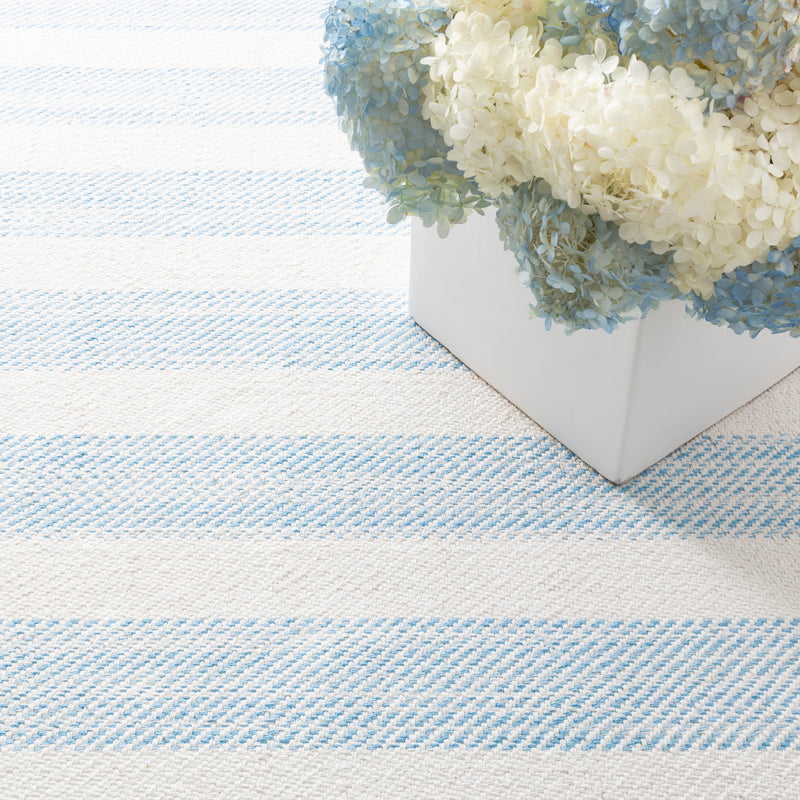 Cruise Stripe Woven Cotton Rug - Blue