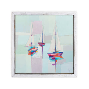 Abstract painting of 3 colorful sailboats with reflections in blue water and pastel sky