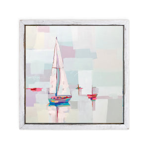Abstract painting of colorful sailboats, one large and close and others in distance with pastel sky