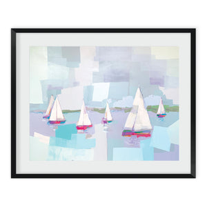 Abstract landscape painting of colorful sailbots on the water with green trees on horizon and blue sea and sky