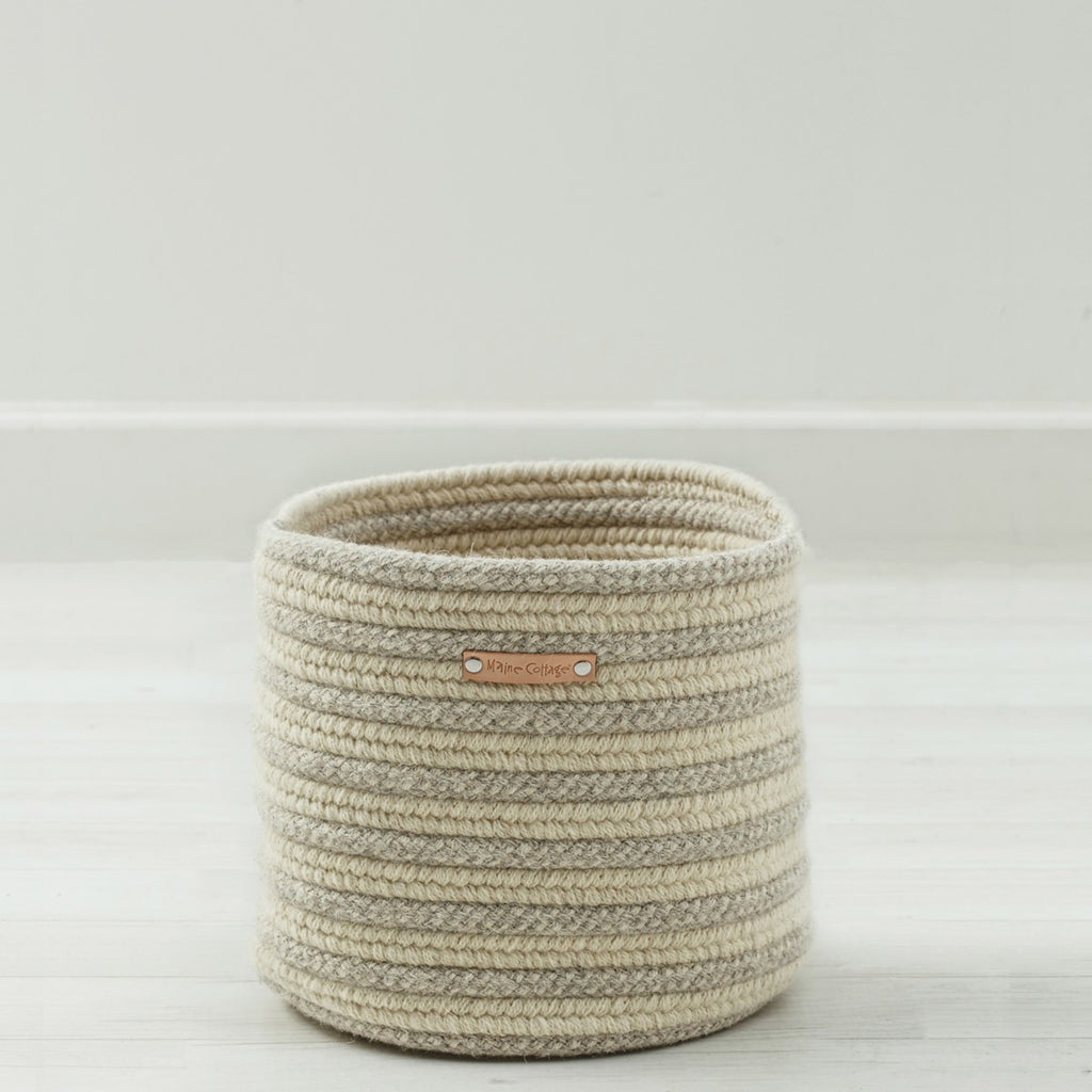 Little Braided Wool Basket - Stripe