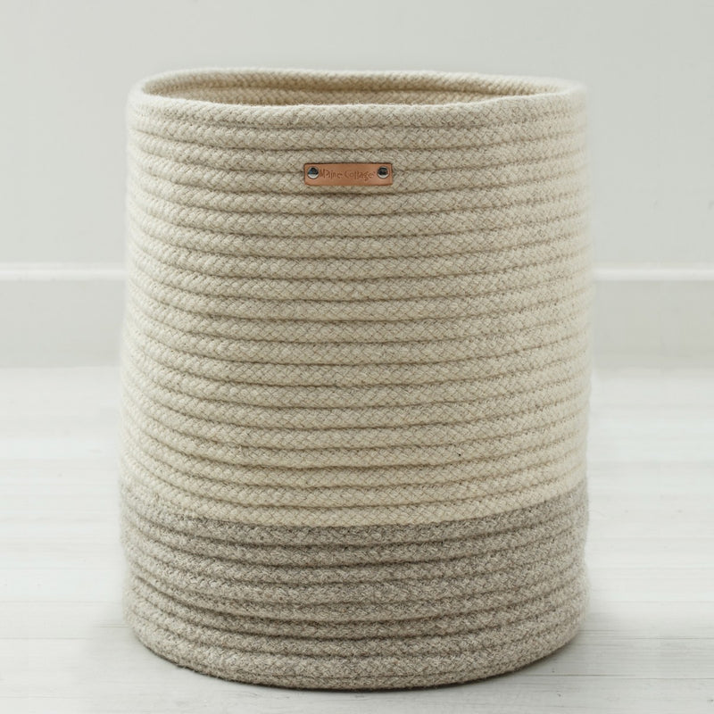 Little Braided Wool Basket - Two Tone