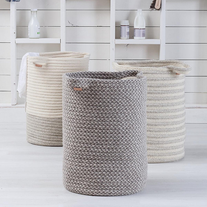 Big Braided Wool Basket - Two Tone