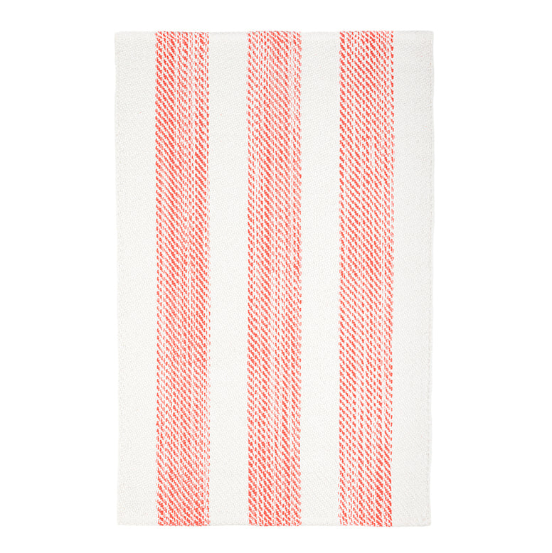Cruise Stripe Woven Cotton Rug - Coral