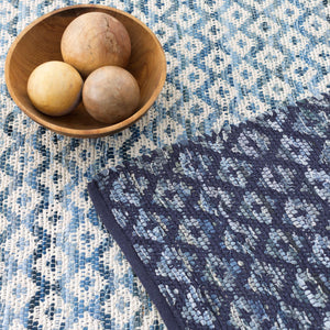 Denim Rag Diamond Ivory Woven Cotton Rug
