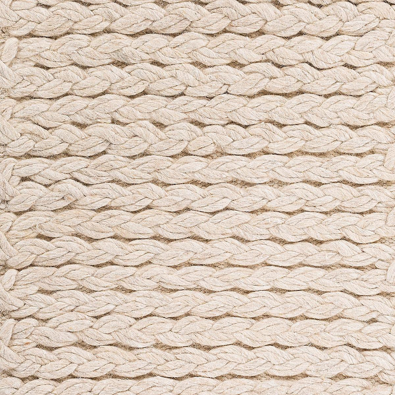 Double Braided Felted Wool Rug - Beige
