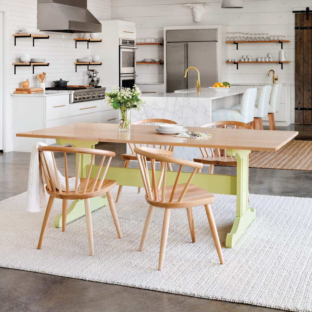 Inga Trestle Dining Table With Maple Top Maine Cottage