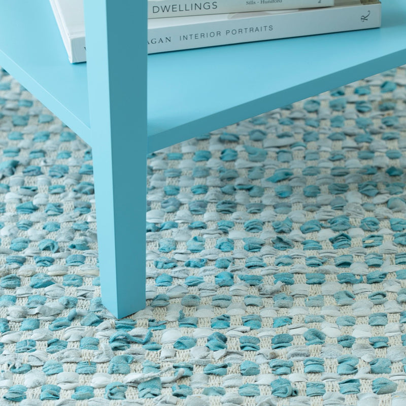Leather Rag Rug - Teal
