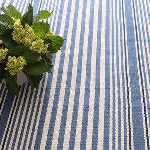 Rugby Stripe Denim Indoor/Outdoor Rug