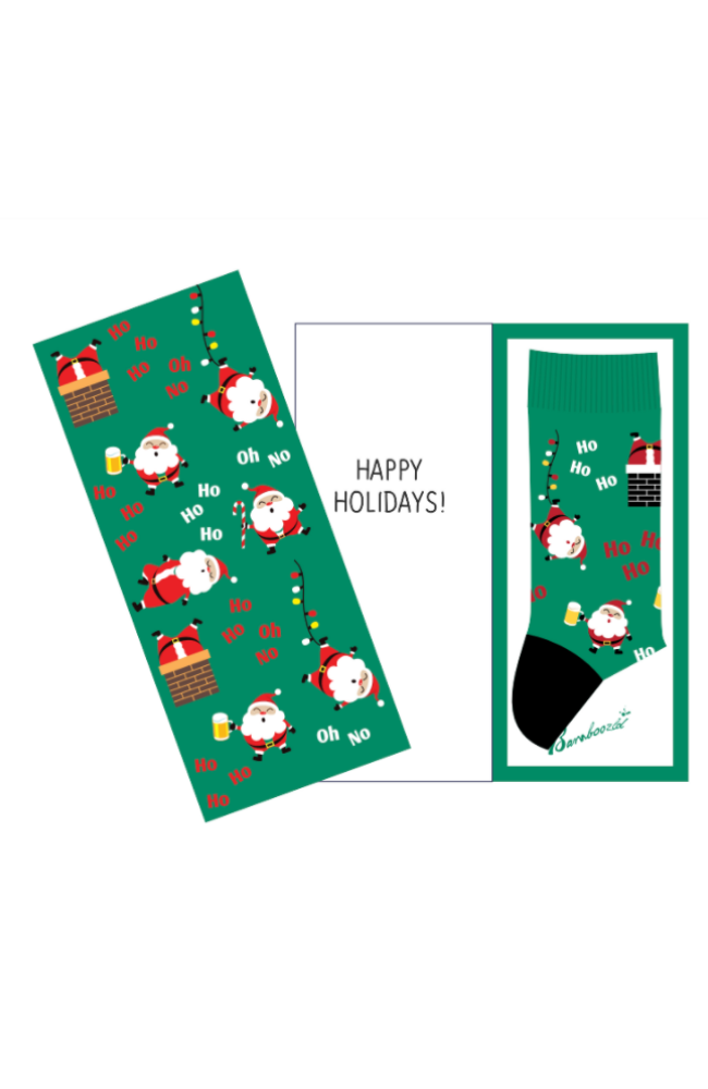 Bamboo Happy Santa Christmas Design Sock Card