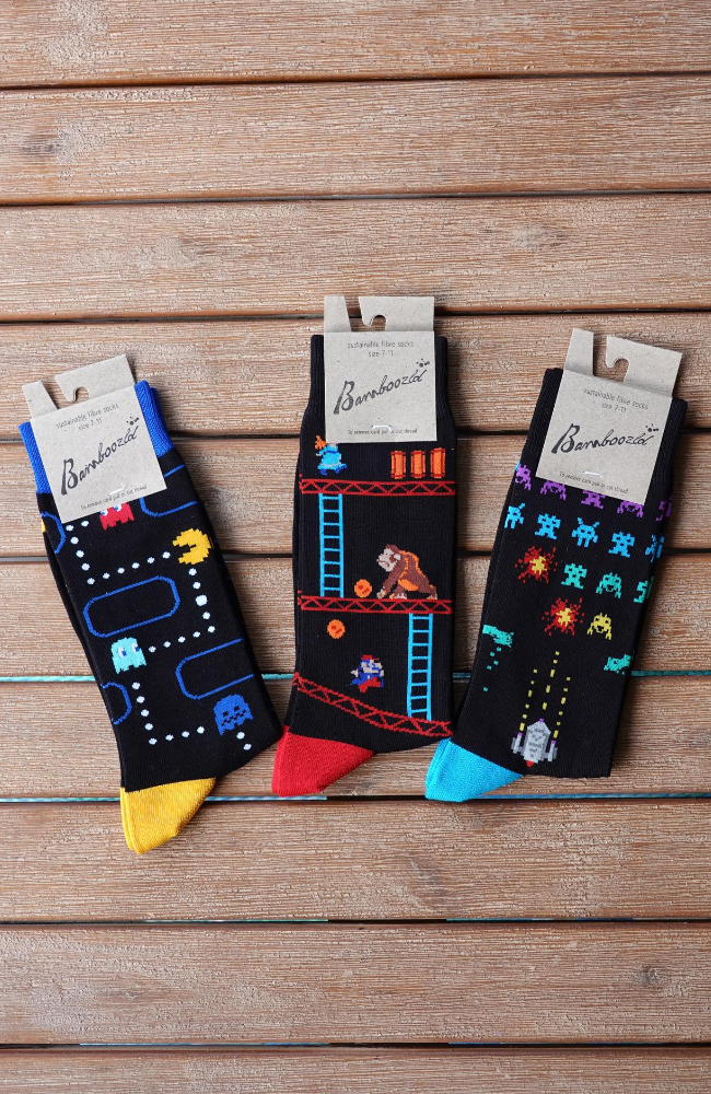 Men's Bamboo Classic 80's Arcade Game Socks - Special Bundle Pack
