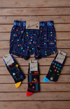 Men's Bamboo Classic 80's Arcade Game Socks & Trunks - Special Bundle Pack