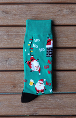 Christmas Happy Santa Design Green Bamboo Socks