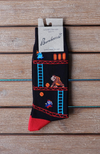 Men's Black 80% Bamboo Socks with a 80's retro Donkey Kong Design.