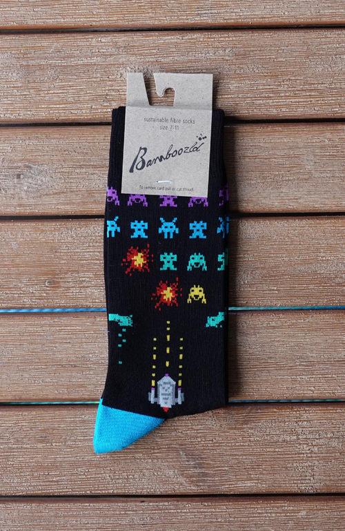 Men's 80% Bamboo Socks Crew Black Fun Space Invaders Sizes 7-14 Packaging